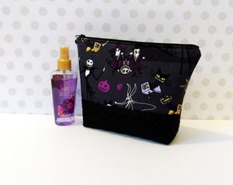 Large Makeup Pouch / Nightmare Before Christmas in Gray