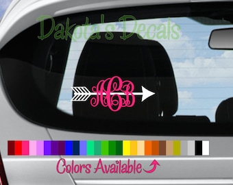 Arrow and Initials Car Decal