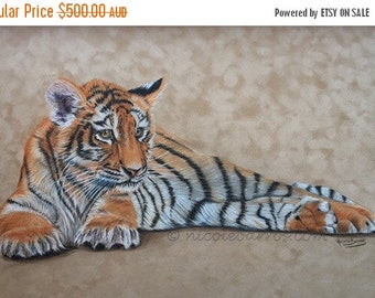 "20% off Tiger Cub, Original Coloured Drawing On Suede 27.5 ""x 17.5"". Wall Art, Home Decor, Tiger painting, Original Fine Art"