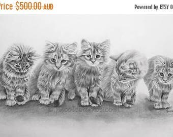 "20% off Kittens, Original Pencil Drawing, Animal Art, Home Decor 13""x 26"" Kitten Art, Pet Portrait, litter of Kittens, Kitten drawing, cats,"