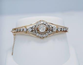 Art Deco 3.75ct. T.W. Diamond Antique Bracelet Platinum and Yellow Gold - J36610