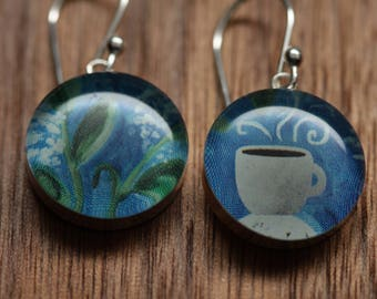 Coffee Cup earrings with sterling silver and resin. Made from recycled, upcycled Starbucks gift cards.