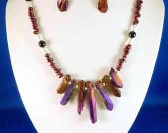 """New SET deep Violet Brown Titanium Druzy Agate NECKLACE & EARRINGS hand-beaded 18"""""""