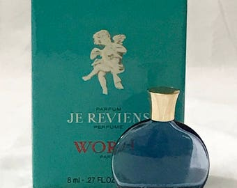 Worth Je Reviens Perfume Vintage Blue Glass Bottle Box Made in France Rare