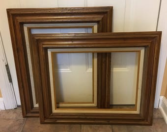 Vintage Vertical Wooden Picture Frames/linen matte with gold trim/gift