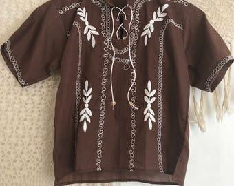 Vintage Nicaragua Embroidered Bohemian Shirt Hippie Hipster Yogi Guru