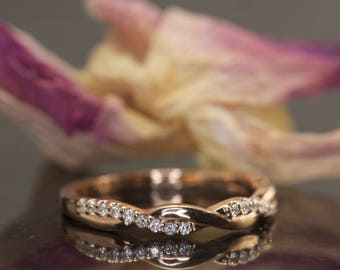 Super Value! Twisted Diamond Band in 14k Rose Gold, 0.12ctw, 2.8mm Wide, 3/8 Eternity, Twisted Vine Design, Pave Setting, Hailey Rylie SV