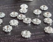 Rhinestone embellishments~rhinestone bouquet~craft supplies~silver~bouquet decorations~bling decor~rhinestone flowers~Set of 10~ReDesignsbyV
