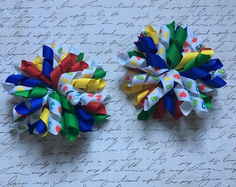 Back to School Korker Bow, ABC Korker Bow, Primary Color Korker Bow, Girl's ABC Hairbow