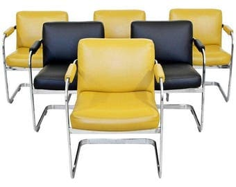 Mid Century Modern Milo Baughman Set of 6 Chrome Cantilever Dining Chairs 1960s