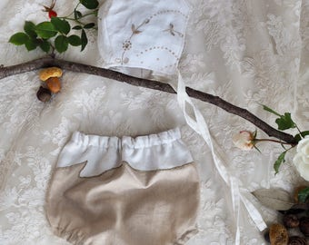 Linen bloomers with vintage trim