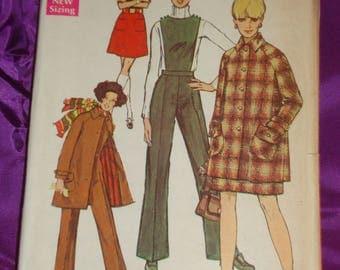 1960s 60s Vintage Mini Coat w Shaped Pockets A Line Skirt n Flare Leg Pants w Optional Bib UNCUT Simplicity Pattern 8403 Bust 34 US 87 CM