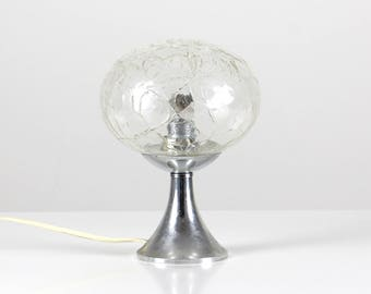 Bubble glass lamp, 70s space age lamp, glass desk lamp, 70s table lamp, silver glass lamp
