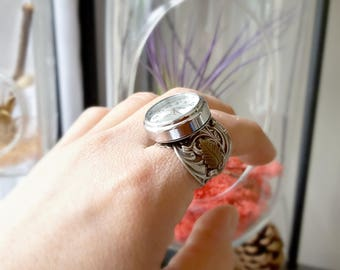 Art Nouveau watch Ring / Adjustable Watch Ring / Finger Ring
