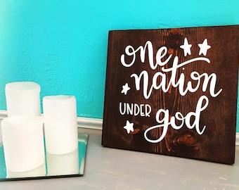 One Nation Under God | Americana | Hand Lettered Wooden Sign