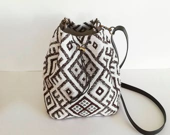 Brown tribal bucket bag, small fabric bag, upholstery bucket bag,ethnic,synthetic leather,boho bag,bohemian bag, small shoulder bag, women's