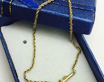 "Vintage 14K Gold Twisted Chain Bracelet - 7"" Long - 1.9 grams"