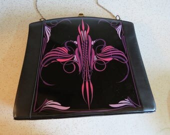 Vintage Black Patent Leather Purse with Pink & Purple Pinstriping by Leon of California, Rockabilly, VLV