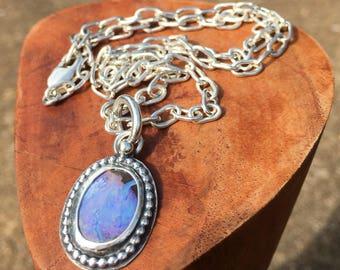 Gem Australian Boulder Opal Necklace with Handmade Soldered Oval Link Chain