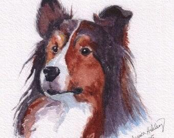 Custom Pet Portrait Watercolor Painting New Year Gift Pet Loss Memorial Handmade
