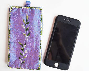 Recycled Sari Silk Embroidery Mobile Phone Case Fits all Smartphones