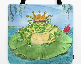 Frog Tote Bag,  Frog King, Frog Prince, cute, whimsical tote, kid's, book bag, gym tote, pool bag, gift for frog lover
