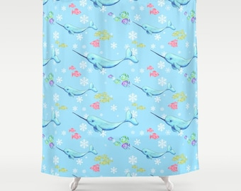 Narwhal Pattern Shower Curtain - Arctic Animals -  Frost, snow, undersea, ocean, fish, light blue, colorful, kid's cute bathroom decor