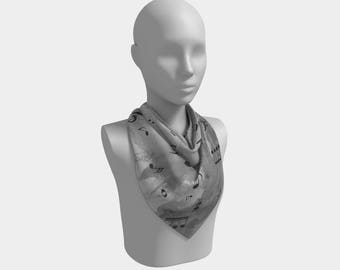 Sheet Music Scarf - Beautiful gray square or oblong scarf notes, music gift, musician, scarves, lady's chiffon matte or charmeuse