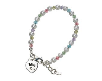 "Sterling Silver ""Big Sis"" Bracelet with Swarovski ELEMENTS Pearls and Big Sis Charm with Gift Box for Big Sister (Multi)"