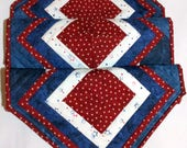 Patriotic Tablerunner, Medium Quilted Table Decor, Red, White & Blue Decor, Patriotic Holiday Decor, Quiltsy Handmade
