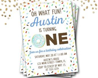Donut Birthday Invitation, Doughnut Birthday Invitation, Donut Invitation, Boy Donut Invitation, Donut Party, Donut Invite, DIY Printable