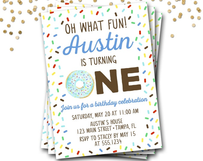 Donut Birthday Invitation, Doughnut Birthday Invitation, Donut Invitation, Boy Donut Invitation, Donut Party, Donut Invite, DIY Printable