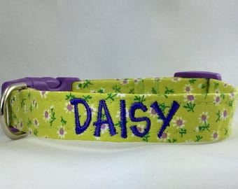 Dog Collar Personalized- Lime Petite Buds