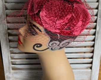 Vintage. Hat. Veil. Velvet. Burgundy. Adorable hat! Love the leaf look on this one!