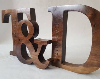 Large Personalised / Engraved Wooden Letters