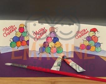 Handmade Merry Christmas Ornaments Card