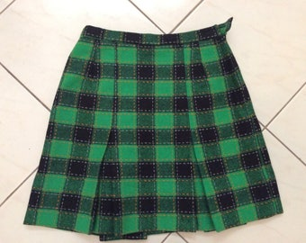 Vintage 70s 80s Green Black Tartan Plaid Wool Blend Skirt St Charles Sz Small