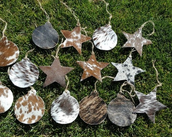 Cowhide Western Leather Christmas Ornaments