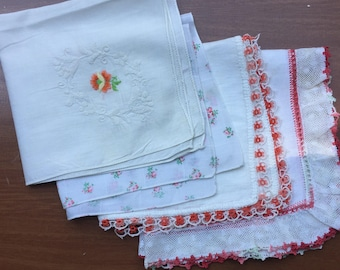 SALE Hanky Collection of 4 Lace Crochet Embroidery Lace Repurposing Crafting Sewing Use