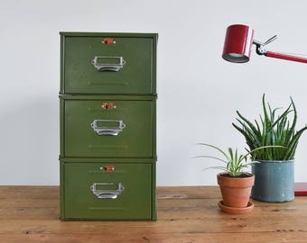 vintage set of three green single stackable seriesu0027 metal filing cabinet drawers