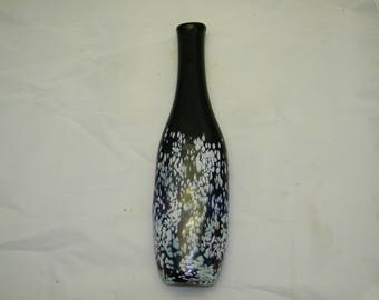 Black Vase with Subtle rainbow sparkles and white dots