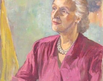 Vintage Oil Painting Elderly Lady In Pink