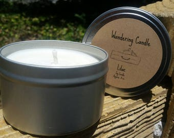 Lilac Scented Soy Candle 8 Oz Tin - Hand Poured Candle - Floral Candle
