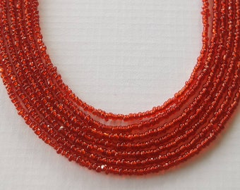 Red seed bead necklace your choice of sizes handmade
