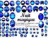 """80 images digitales """"Nuit magique"""" pour cabochon et scrapbooking"""