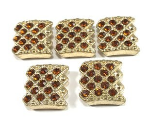Gold Rhinestone Slider Beads, Orange and Gold Sliders, Gold Rhinestone Slider Beads, Metal and Glass Sliders, Bracelet Sliders, 2 Hole Beads
