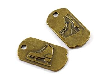 2 Brass Ice Skate Dog Tag Pendants, Ice Skate Pendant, Antique Brass Pendant, Brass Pendant, Dog Tag Pendant