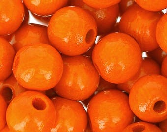 4mm/6mm/8mm/10mm/12mm/15mm Wooden round beads - ORANGE , Natural beads, Colored wooden beads, Beech wood