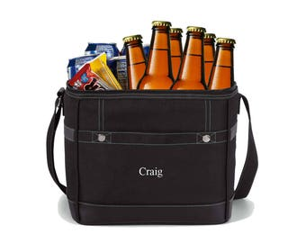 Groomsmen Gifts Personalized 12-pack Cooler - Black Soft Sided Cooler - Groomsmen Gifts - Groomsmen Coolers - Gifts for Dad - GC1480 BLACK