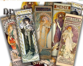 40% Mucha Bookmarks Digital Collage The Theatre by Mucha Collage Sheet, Instant Download Junk Journal Tags Scrapbook Tag Digital Bookmarks S